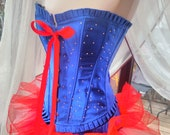 Corset dress with matching necklace Halloween burlesque party stage goth day of the dead tutu skirt can be worn separate to the corset
