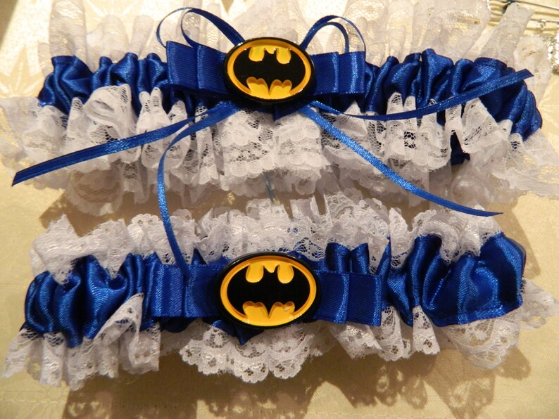 Lace edge Royal Blue Keepsake set Batman themed garter