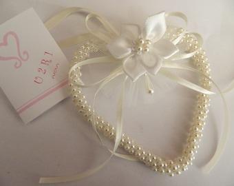 Wedding bridal charm Ivory Pearl Keepsake Heart - Wedding Keepsake - Handcrafted satin Flower  -Bridal charm keepsake