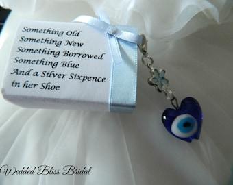 "Wedding Bouquet charm -""Evil eye"" Talisman -Something Blue - Wedding gift - Gift Boxed"