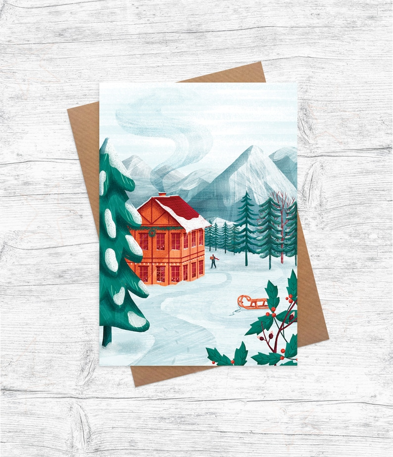 Scandi Cabin  Illustrated Christmas Card  Pack of 6 image 0