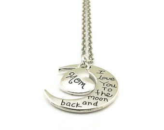 SALE I Love You to the Moon and Back Mom Necklace, Moon Necklace, Mom Necklace