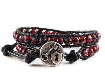 SALE Leather Wrap Bracelet, Black Leather Wrap, Boho Leather Wrap Bracelet