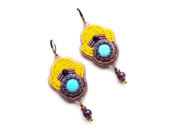 Colorful earrings Bead Embroidery earrings Yellow Earrings Turquoise earrings African style jewelry Beadwork earrings  Gift idea for sister