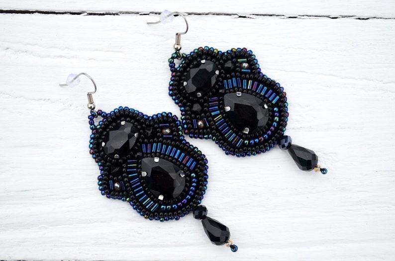 holiday earrings Black rhinestones earrings Gift idea for women Seed bead embroidery jewelry Statement bead embroidered earrings