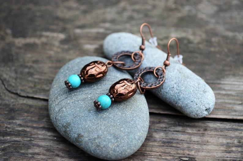 Egyptian Inspired copper earrings Scarab Earrings Beadwork Earrings Turquoise copper earrings Cute gift for friend Tribal earrings Taitallas