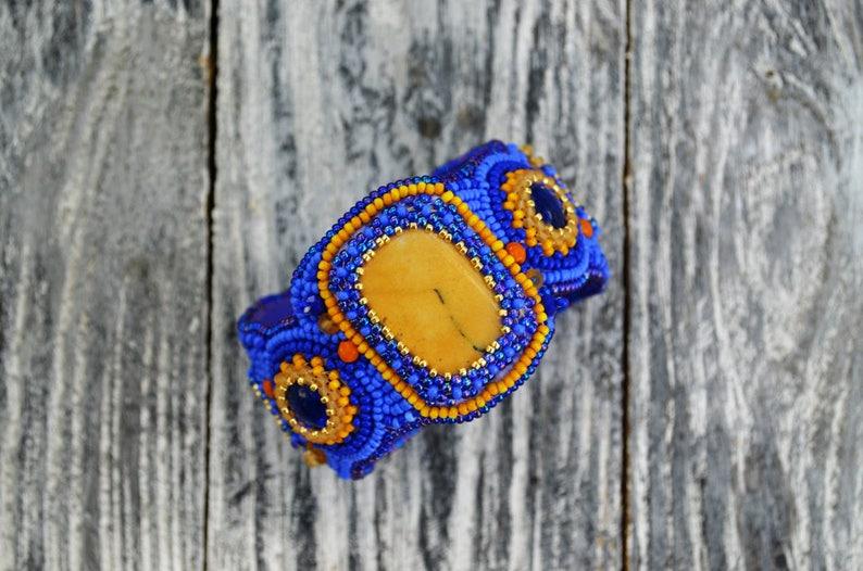 Semiprecious Stones Cuff Wide Bracelet for Women Embroidered Bracelet Blue Beaded Cuff Yellow Jasper Cuff Handcrafted Jewelry