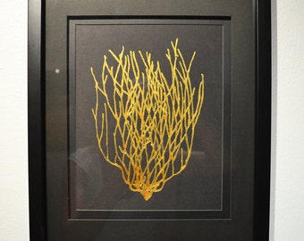 """Gold Coral Painting 8.5"""" x 11"""" on Italian Acid Free Paper Hand-Painted with 24k Gold Acrylic Paint V2"""