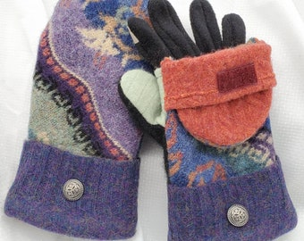 Medium North woods embroidered wool sweater glittens mittens gloves recycled felted flip back hood Fleece touchscreen gloves