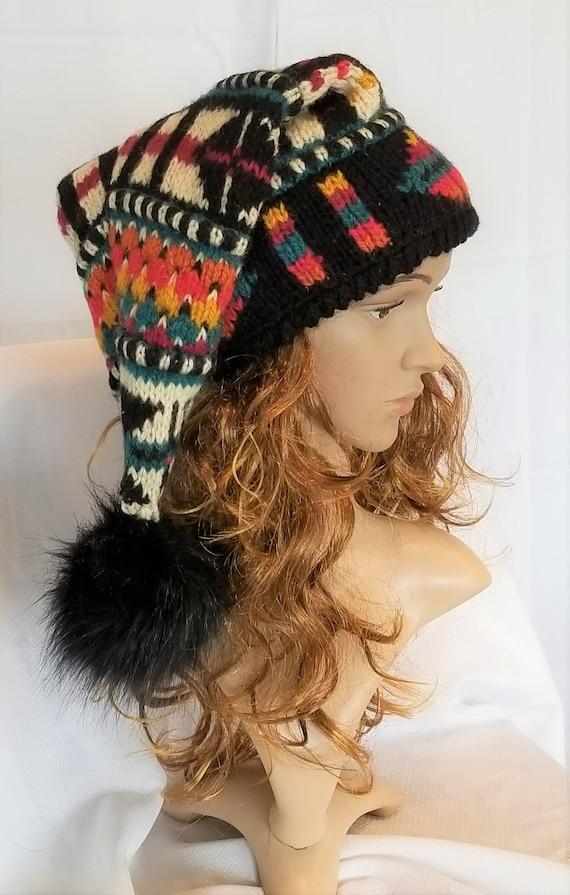 Icelandic Design recycled wool sweater stocking hat and mitten set fur ball, pom pom, recycled, black, teal. orange, gold, medium