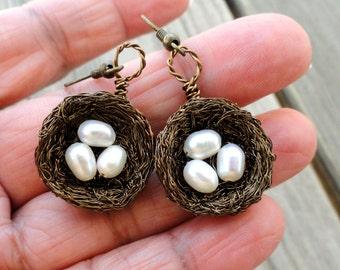 Earrings , birds nest earrings , wire wrapped earrings, freshwater pearl nest earrings, nature jewelry, white pearl earrings