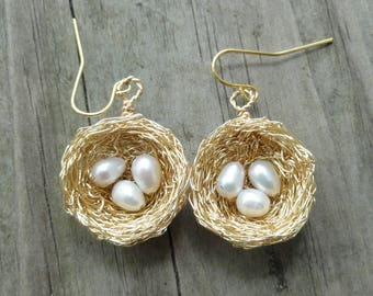 Gold  nest Earrings , Gold,birds nest earrings , wire wrapped earrings, freshwater pearl nest earrings, nature jewelry, white pearl earrings