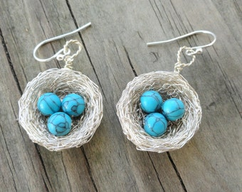 Sterling Silver Bird nest Earrings, Silver birds nest earrings, Nest earring, Turquoise Nest Earrings,  sterling silver nature earrings