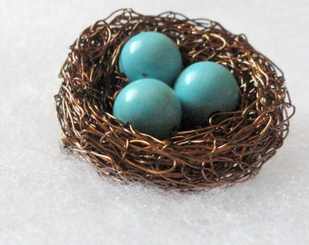 3,4,5,6,7,8.9.10.11,12,Birds nest brooch,Nest brooch , birds nest jewelry, turquoise birds nest, nest jewelry, turquoise brooch