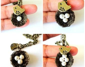 1,2,3,4,5,White swarovski pearl birds nest necklace,nest necklace ,custom, white swarovski pearl nest pendant,custom made nest