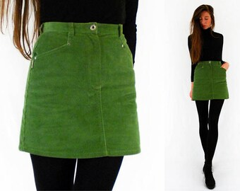 db9165761f9 90s cord skirt, green corduroy skirt, A line skirt, super short mini, high  waist, high waisted, 1990s vintage, clueless, preppy, small