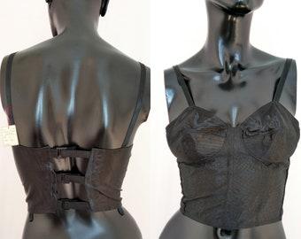 7eecbec14d4c1 50s bullet bra, Deadstock BNWT, satin corset, vintage bustier, black bodice,  1950s bra top, pinup, pin up, rockabilly lingerie, XS, 32B/C