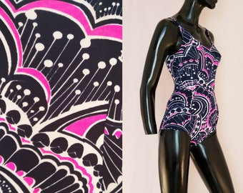 9d16ae901c 70s vintage swimsuit, psychedelic print, pink blue white, pin up girl,  1970s swimming costume, 60s swimwear, retro sportswear, extra small