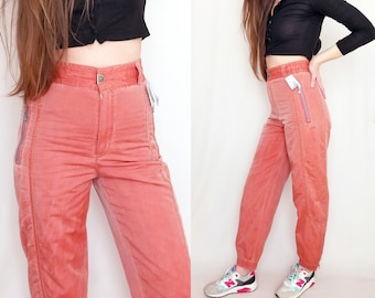 50b4f4caf 90s ski pants, coral skiing trousers, high waisted, vintage track pants,  Deadstock BNWT, tracksuit bottoms, orange pink, small, S