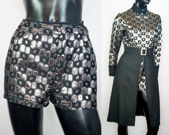 70s 2 piece, disco two piece set, silver black dre