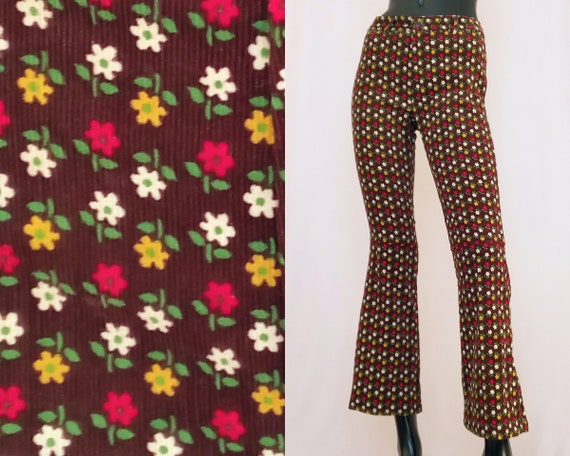 70s Corduroy Pants Brown Cord Trousers Ditsy Floral Mid