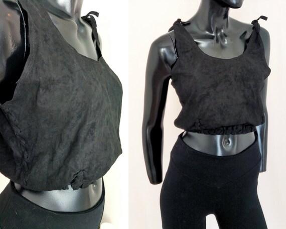 Suede crop top, 90s black top, genuine suede leath