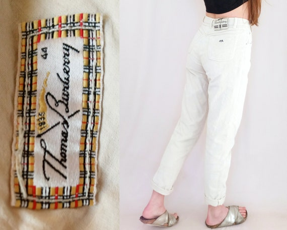 for sale good selling cute BURBERRY cord pants, cream corduroy trousers, Thomas Burberry, 90s vintage  cords, high waist, Mom style, medium, M