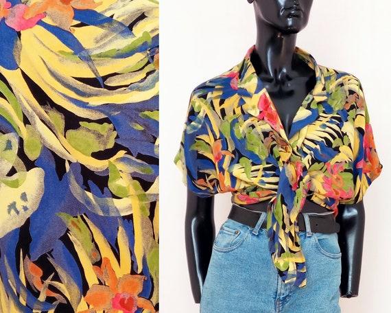 Vintage Shirt  Retro Shirt  Vintage Blouse  1980s 80s  Pink Yellow Purple Abstract Tropical Hawaiian  Large L