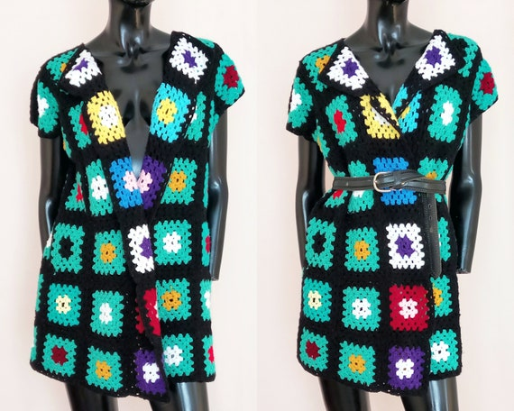 Granny square waistcoat, 60s sweater vest, vintage