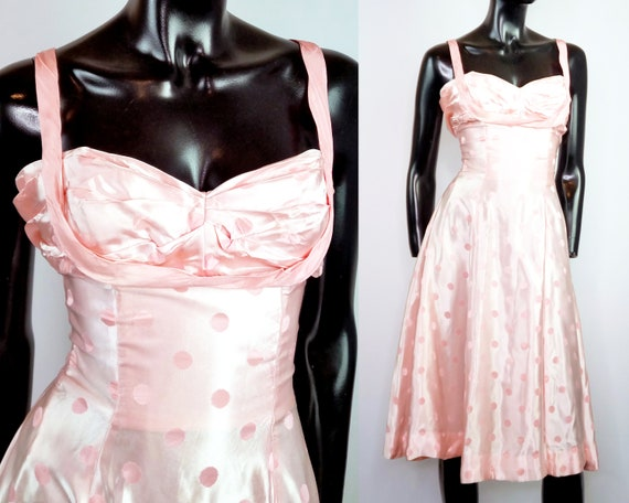 80s prom dress, pink polka dot dress, 1980s does 5