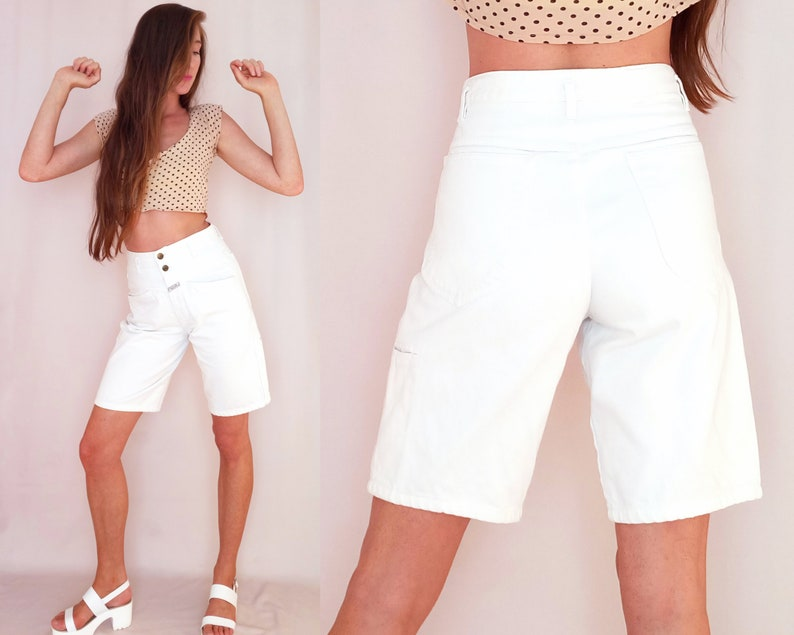 abdf84065e White denim short 90s jean short high waisted long loose | Etsy