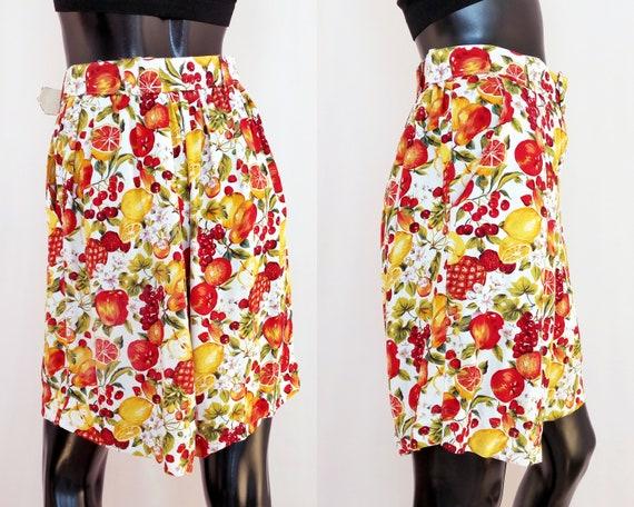 90s vintage shorts large mom shorts fruit print high waisted culottes loose fit shorts medium Y2K vintage