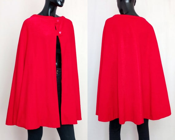 60s cape, vintage red cape, 1960s coat