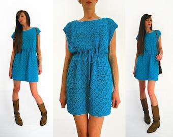 70s knitted dress, Boho dress,  festival dress, loose knit, blue knit dress,  green 60s dress,  free size, seethrough, sheer dress