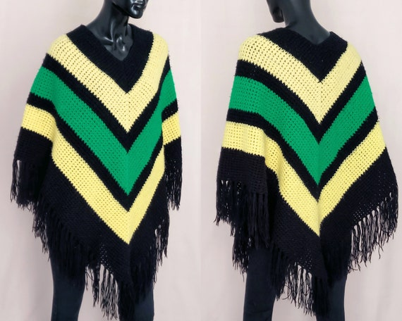 60s poncho, hand knitted poncho, hippie knit, boho