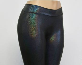 Black Mini Dot Hologram Leggings. Mid-rise and High Waist. Child, Adult, and Plus Sizes.  Festivals, Raves, Yoga, Cosplay, Roller Derby...