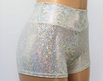 MADE IN USA! RAVE WEAR OPAL MID RISE HOLOGRAPHIC PANTIES IN S M L /& XL