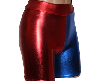 """Harley Quinn Red & Blue Costume Shorts.  Suicide Squad Cosplay.  High Waist Booty Shorts with a 6"""" Inseam.  All Sizes!"""
