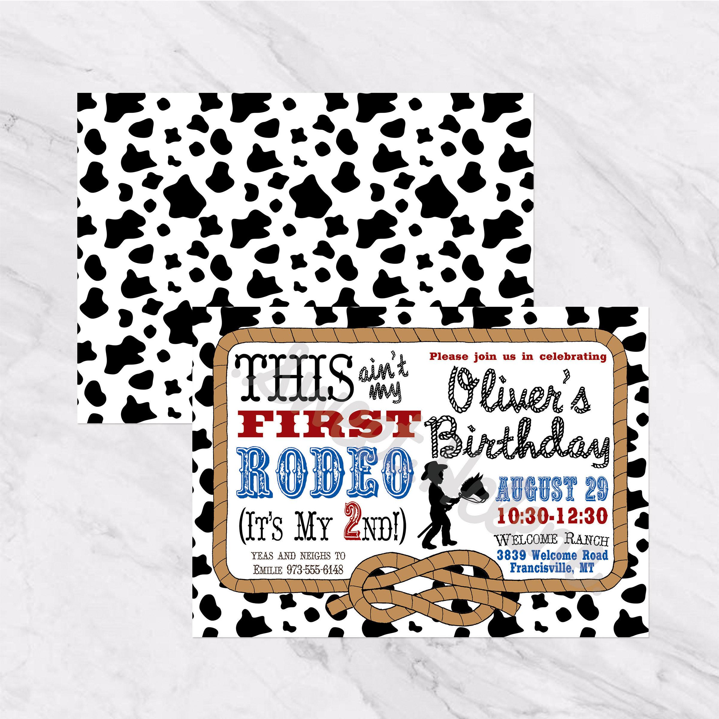 Cowboy / Rodeo Birthday Invitation Western 2nd Birthday | Etsy