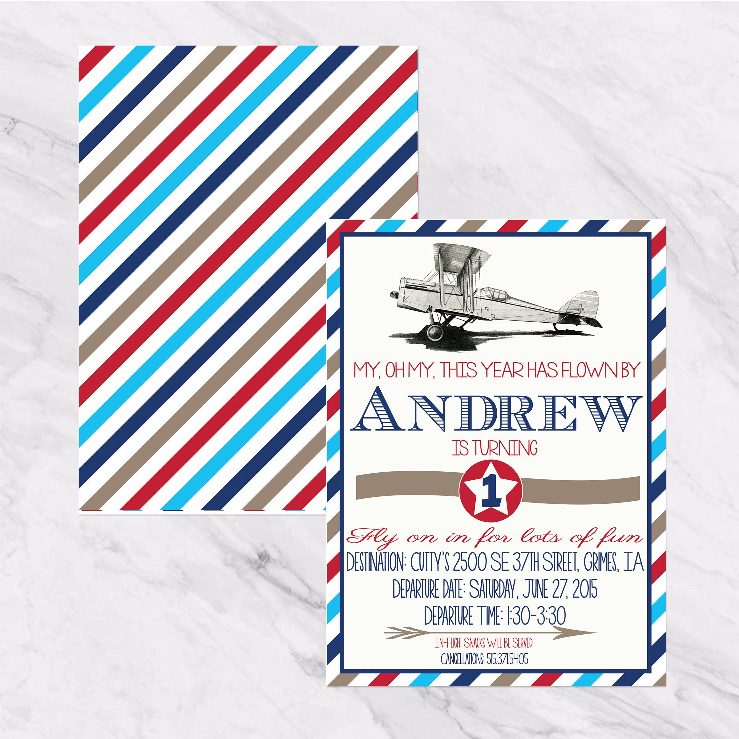 Vintage Airplane Birthday Invitation : Vintage Planes-First | Etsy