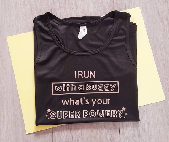 Buggy Runner/'s Black or Purple Technical Vest XS to XXL Superpower Printed Slogan, Womens and Unisex Activewear