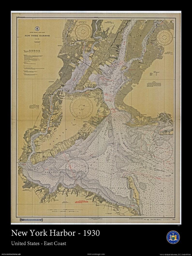 Letra De Puerto De Nueva York Mapa Nautico De 1930