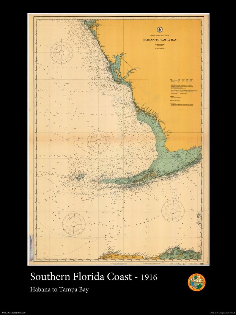 Map Of Southeastern Florida Coast.Print Of Southern Florida Habana To Tampa Bay 1916 Nautical Map