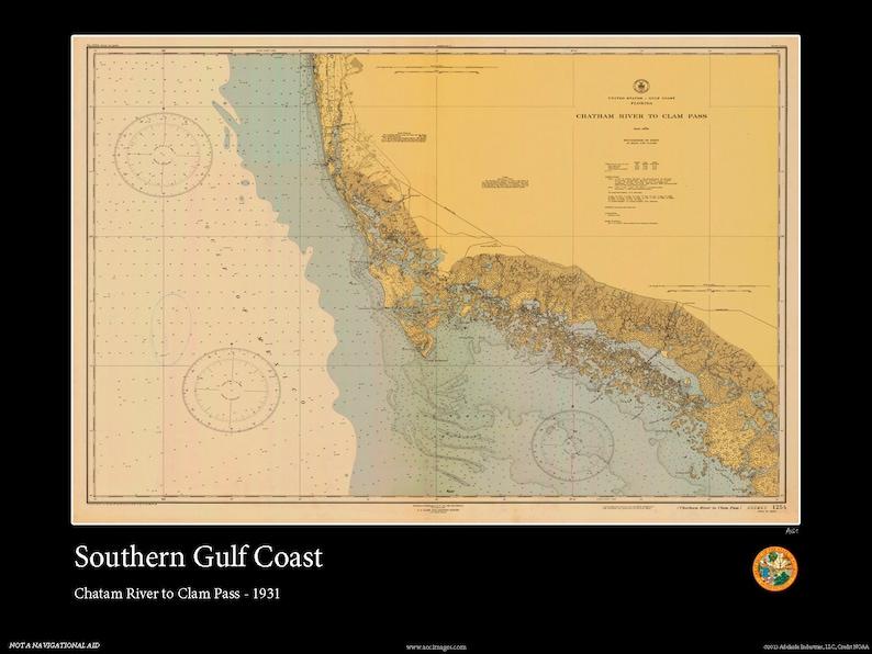 Map Of Southern Florida Gulf Side.Southern Gulf Coast 1931