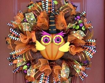HALLOWEEN WREATH, Owl Wreath, Mesh Wreath, Colorful Fall Wreath, Whimsical Wreath