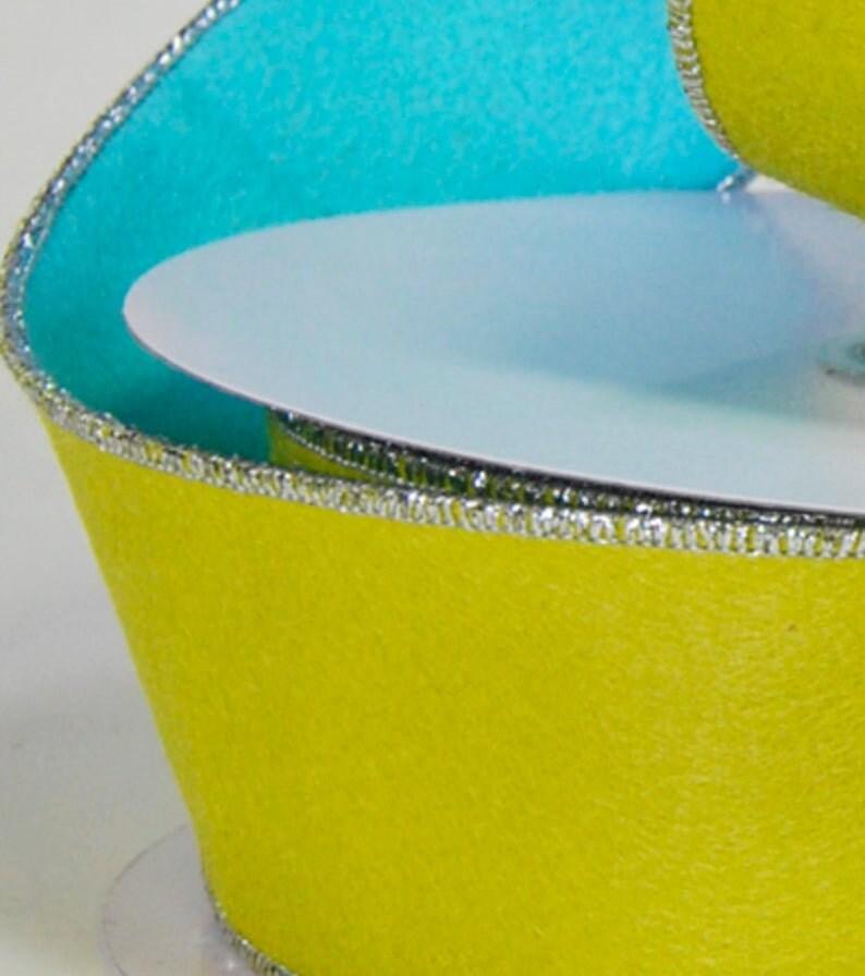 5 Yards! Felt LimeBlue 2.5 Wired Designer Ribbon