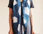 Naturally Dyed Bamboo Scarf - Geometric Indigo