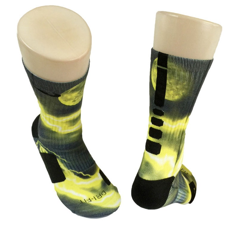 aa106b1b7b49e Custom Yellow Lightning Galaxy Nike Elite Socks