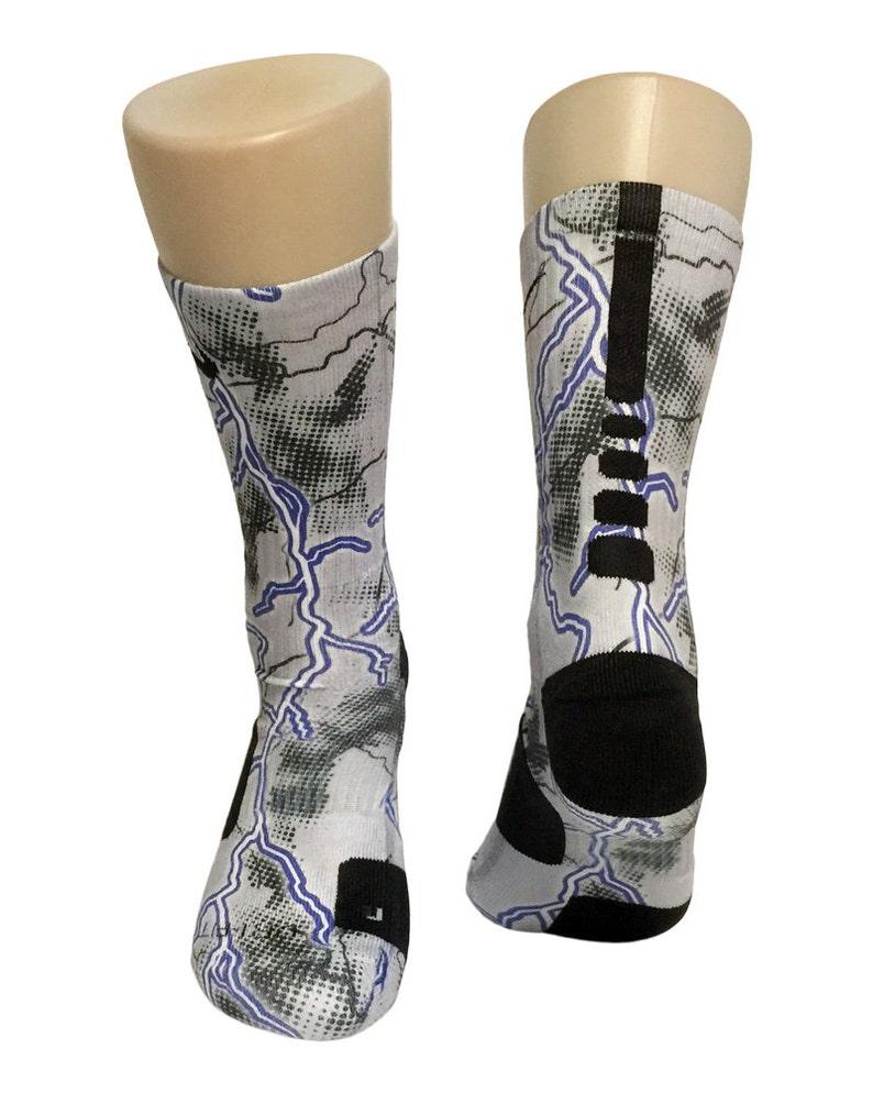 a5ce70c6fc2bb Custom Lightning Grey Nike Elite Crew Socks