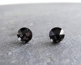 Grey crystal stud earrings, Swarovski post earrings, graphite Swarovski, surgical steel earrings, 5mm studs, small earrings, discreet studs